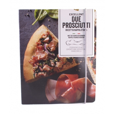 A5 Schrift AH Excellent pizza Due Prosciutti