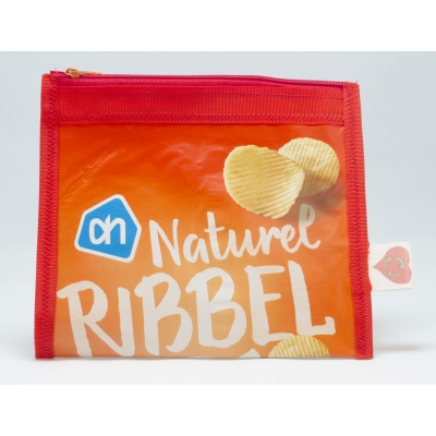 Plastic recycle etui - Naturel ribbelchips (rood)