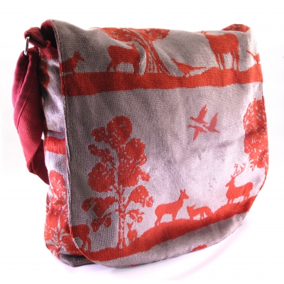 Recycle Tas - Veluwe (bosprint in rood en grijs)